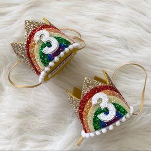 Rainbow Birthday Crowns - Sold as Set